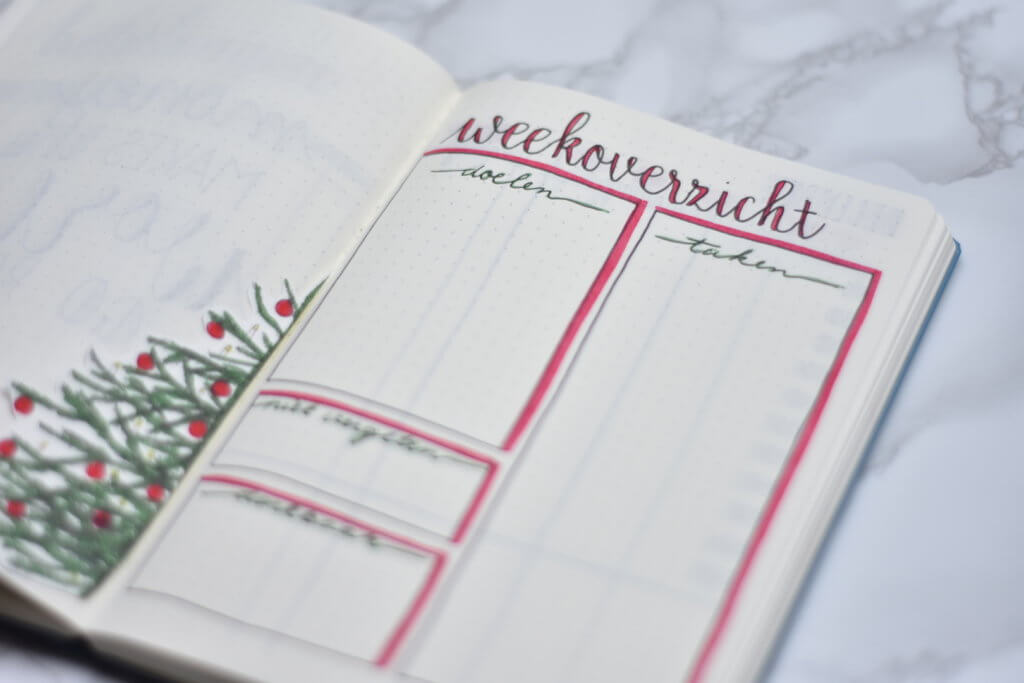 Mijn bullet journal setup voor december weekoverzicht