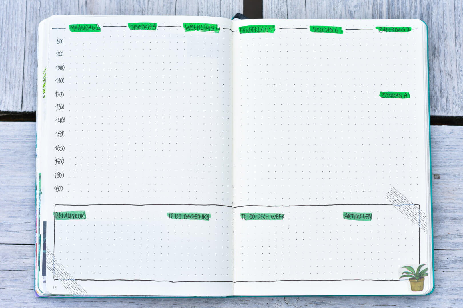 bullet journal in september weekplanning