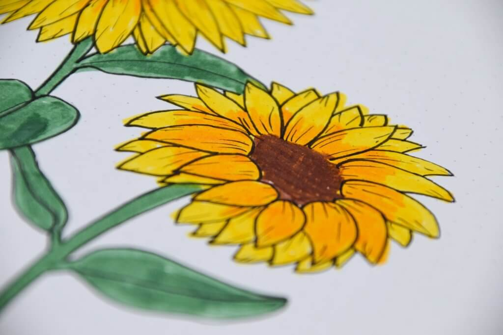 bullet journal setup voor september zonnebloemen