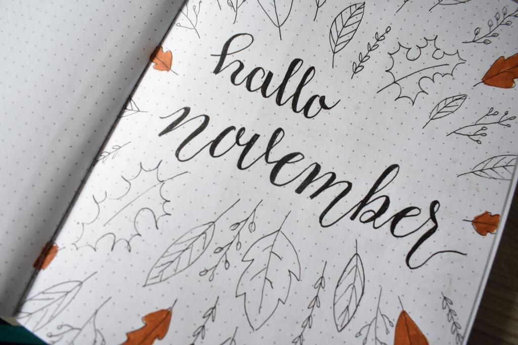 mijn bullet journal setup voor november thema