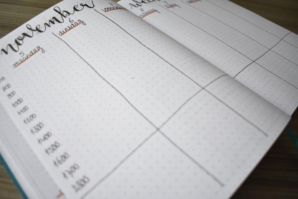 mijn bullet journal setup voor november weekplanner