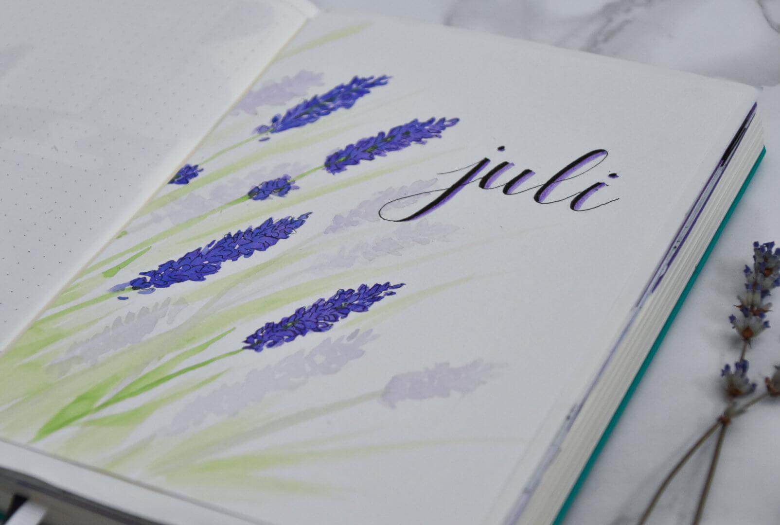 setup van mijn bullet journal in juli thema